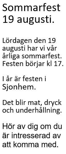 Sommarfest 19 augusti