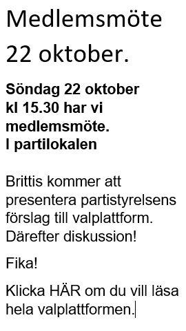 Medlemsmöte 22 oktober