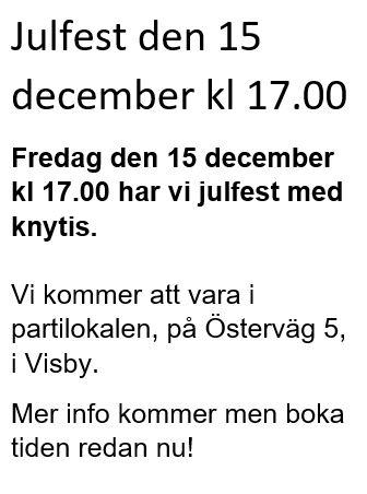 Julfest fredag den 15 december kl 17.00